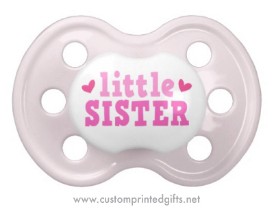 Cute little sister pacifier with pink hearts - Custom printed gifts e637058a5
