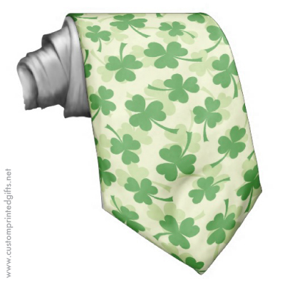 Green irish clover shamrock pattern saint patrick's day tie