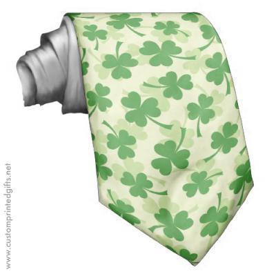 Green irish clover shamrock pattern saint patrick's day tie