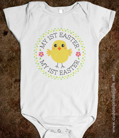 My first Easter romper with cute cartoon chicken, pink flowers and green polka dot border