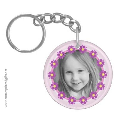 Purple flower border cute custom photograph photo frame double sided keychain