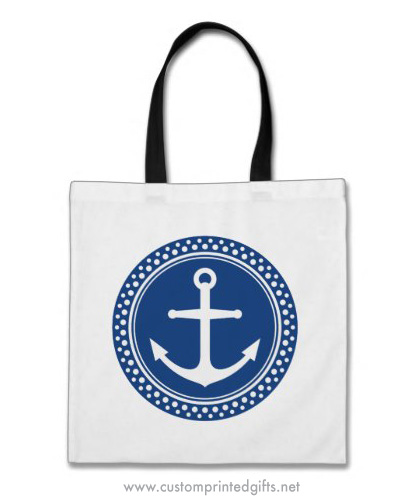 White nautical anchor with dot border on navy blue circle custom tote bag
