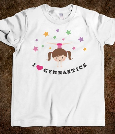 i love gymnastics brunette girl doing handstand and side split youth tee shirt for kids