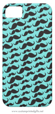 Black and aqua blue funny mustache pattern iPhone 5 case