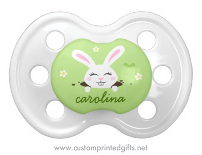 Cute cartoon bunny rabbit pacifier with personalized name