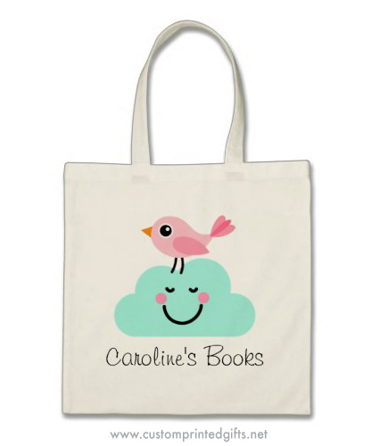 Cute library book bag for kids with pink cartoon bird standing on a happy little cloud