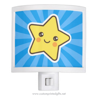 Cute nightlight with happy kawaii star on blue sunburst background
