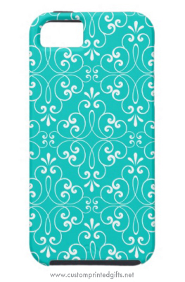 Decorative ornate damask pattern teal aqua blue iPhone 5 case for girls and women