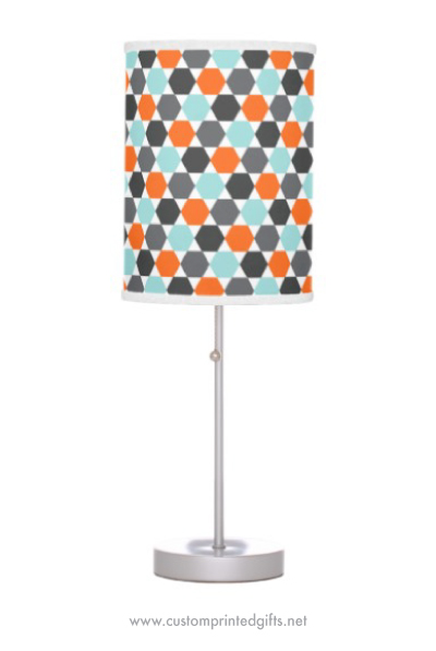 Standing lamp with retro hexagon pattern in orange, gray and aqua blue