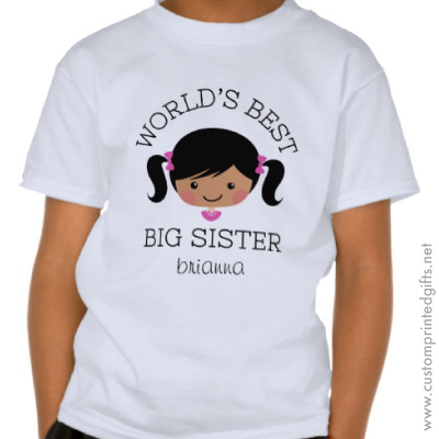 Worlds best big sister asian african american cartoon girl personalised name t-shirt