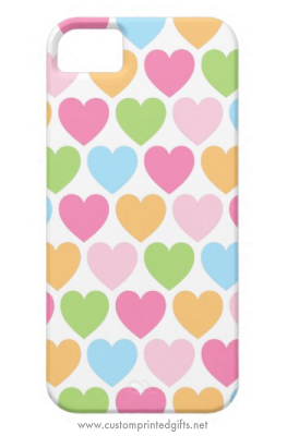 Cute and girly pastel colored candy hearts iPhone 5 case for girls and women