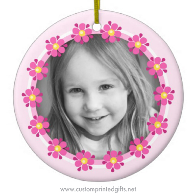 Pink flowers floral border photo ornament