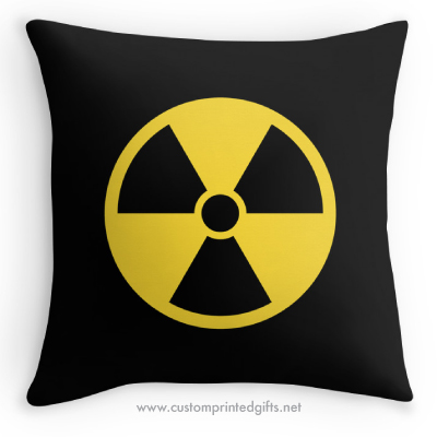 Round yellow on black radioactivity radioactive fallout nuclear radiation symbol pillow