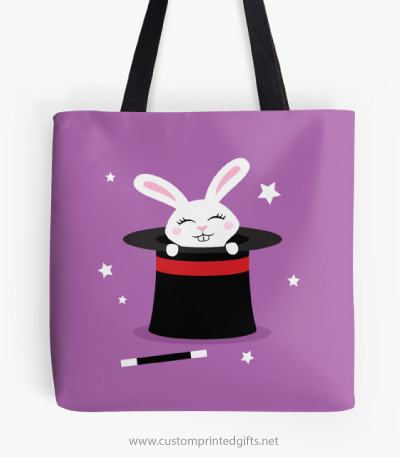 Cute white bunny rabbit in magicians hat purple magic tote bag