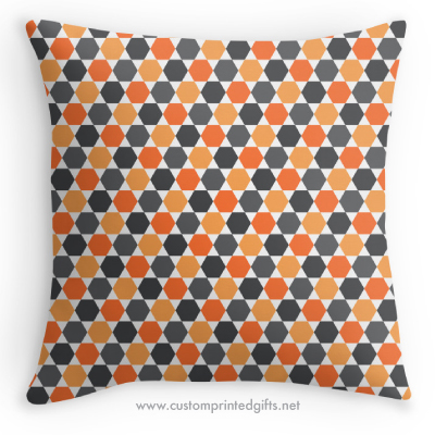 Dark gray and orange retro hexagon pattern throw pillow