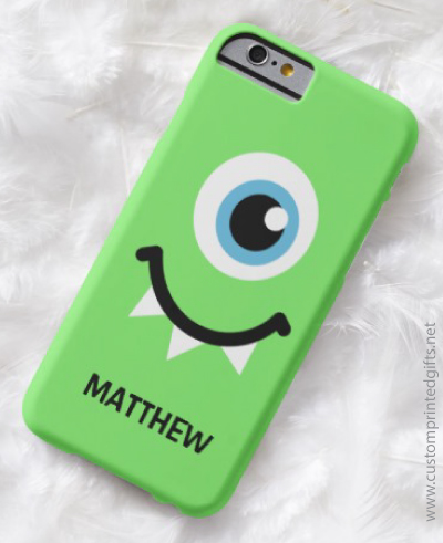 Cute funny one eyed green monster personalized iphone case for children