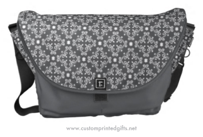 Dark gray ornate floral damask pattern messenger bag