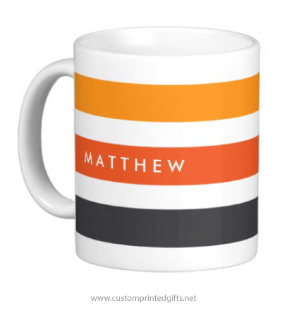 Modern personalized name coffee cup for men with gray and orange stripes