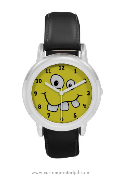 Funny goofy yellow cartoon face with big teeth watch for children