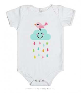 Pink bird on happy cloud baby onesie