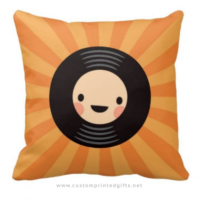 Kawaii LP vinyl record on orange sunburst throw pillow