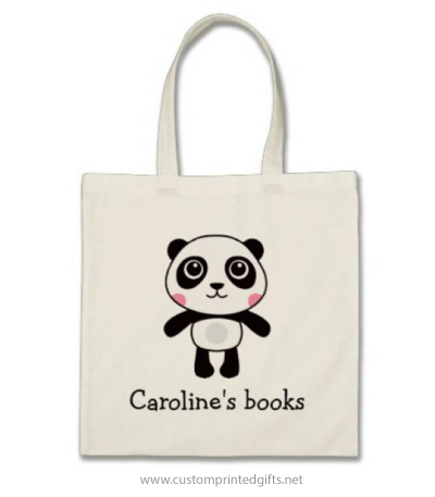 Library book bag for kids with cute cartoon panda and personalized name