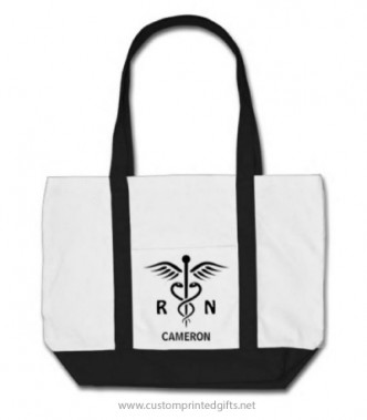 Registered nurse tote back with caduceus symbol