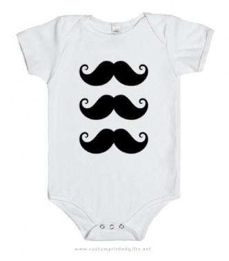Mustache onesie with three handle bar mustaches