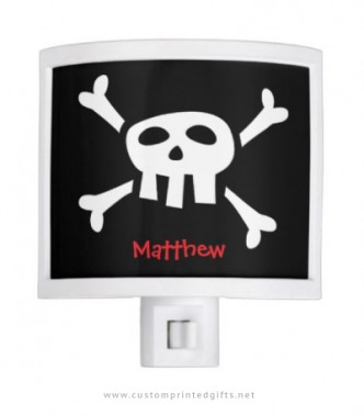Night light for boys with pirate skull and personalised name