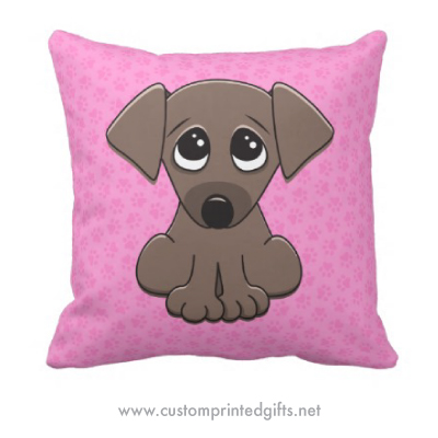 Cute brown puppy dog cartoon on girly pink paw print pattern