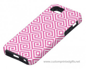Abstract geometrical squares pattern, pink white iPhone 5 cover