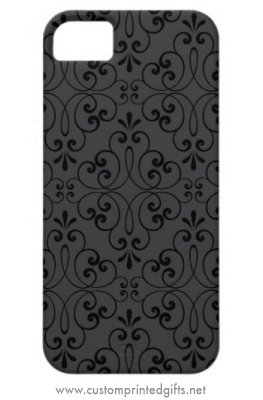 Elegant iphone 5 case with black ornate damask swirls on a dark gray background
