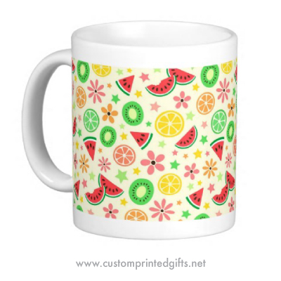 Melons and flowers, fresh summer themed patterned mug