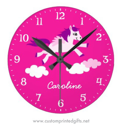 Custom wall clock for kids rooms with a winged horse