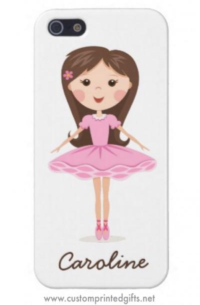 Ballerina girl in pink tutu, personalized phone cover