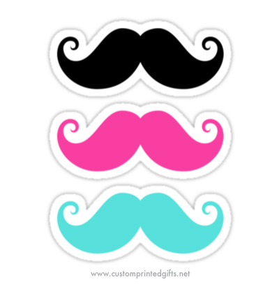 Fun stickers featuring three handlebar mustaches in different colors