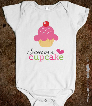Cute romper for girls with text sweet as a cupcake