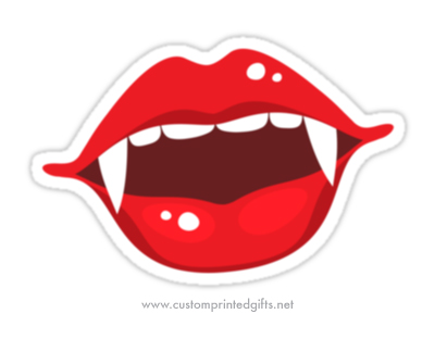 Sexy female vampire mouth with red lips and white fangs and teeth