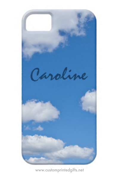 Blue sky and white fluffy clouds personalized iPhone 5 case