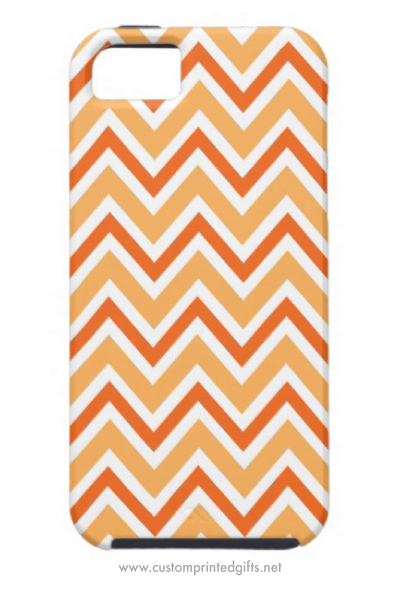 Chic orange zigzag chevron pattern iPhone 5 case