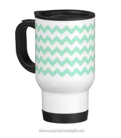 Chic travel commuter mug with mint green chevron zigzag pattern