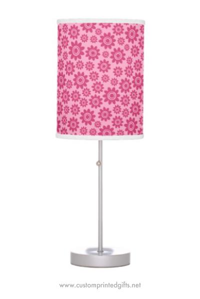 Cute lamp for children pink girly whimsical flower pattern