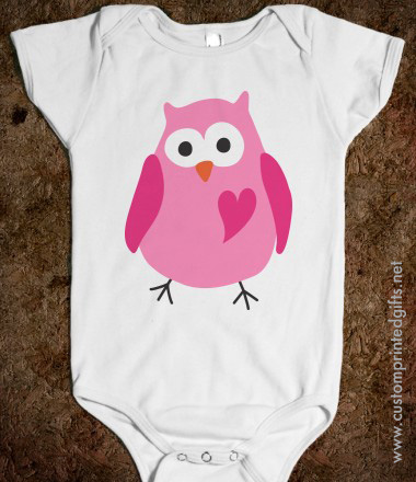 Cute pink owl with love heart baby one piece romper