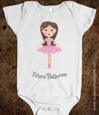 Future ballerina baby one piece romper with cute cartoon girl in pink tutu