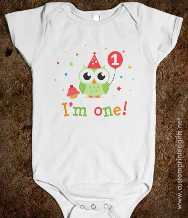 I am one first birthday baby onesie shirt with cute green owl holding balloon cupcake and stars
