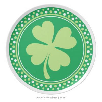Lucky green shamrock four 4 leaf clover Saint Patricks day plate