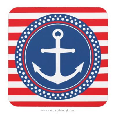 Nautical anchor inside white polka dot border emblem on red stripes coaster