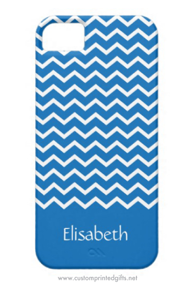 Personalized denim blue chevron zigzag pattern iPhone 5 case