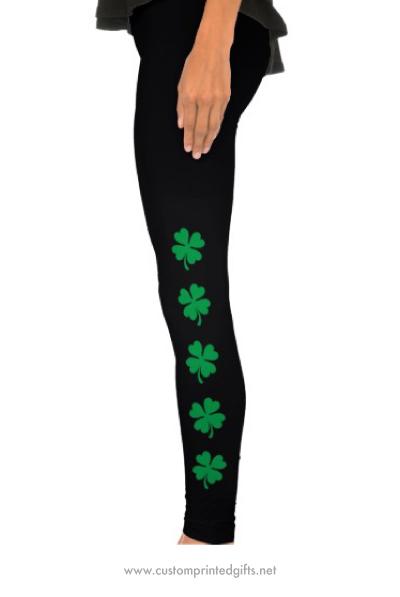 St patricks day lucky green four leaf clover leggings