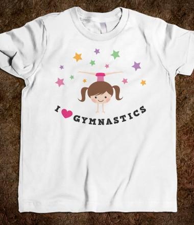 i love gymnastics brunette girl doing handstand and side split youth tee shirt for kids
